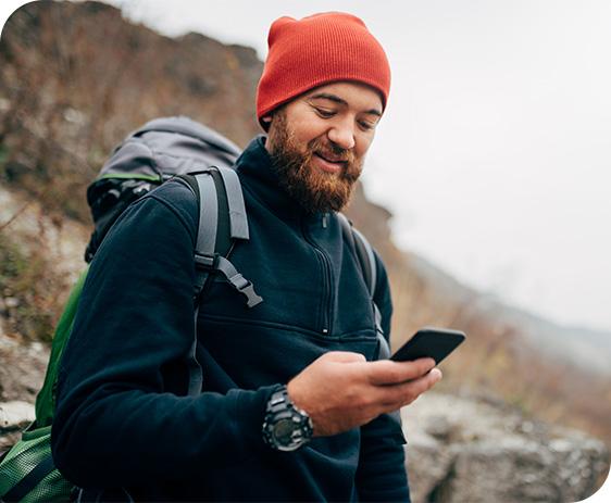 Hiker-on-phone